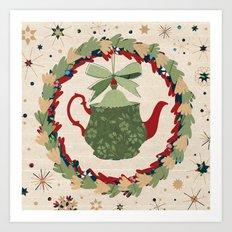 Christmas Teapot inside the Wreath  Art Print