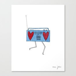 boombox with hearts Canvas Print