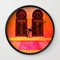 morocco Wall Clocks featuring Morocco  by Xchange Art Studio