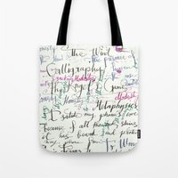 calligraphy Tote Bags featuring Calligraphy Spill by Louis Franz