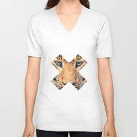 leopard V-neck T-shirts featuring Leopard by Zavu