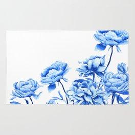 blue peonies 2 Rug