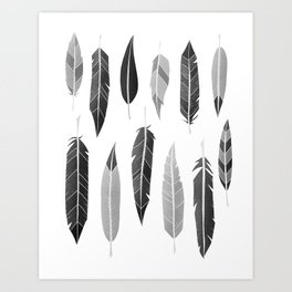 Feathers Black and White Art Print
