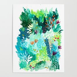 Twice Last Wednesday: Abstract Jungle Botanical Painting Poster