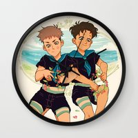 snk Wall Clocks featuring at the beach by JohannaTheMad