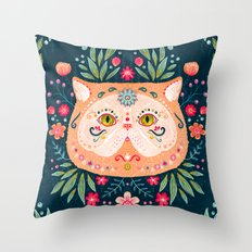 Candied Sugar Skull Kitty Throw Pillow