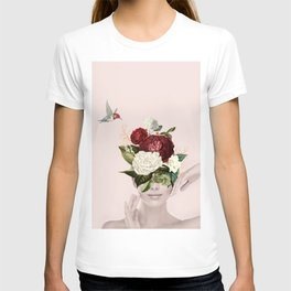 Collage of lady with flowers T-shirt