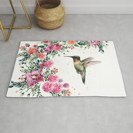 Hummingbird and Flowers Watercolor Animals Rug