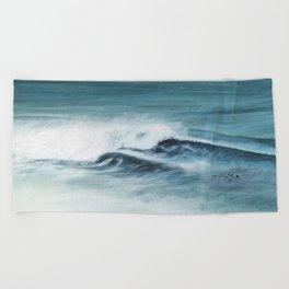 Surfing big waves Beach Towel