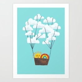 Hot cloud balloon - sun and rainbow Art Print