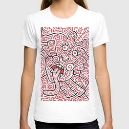 """The Face"" - inspired by Keith Haring v. red T-shirt"