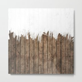 White Abstract Paint on Brown Rustic Striped Wood Metal Print