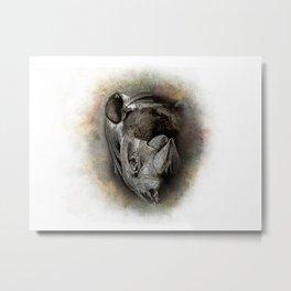 Black Rhino Watercolor Portrait Metal Print