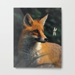 The Fox & Dragonfly Metal Print