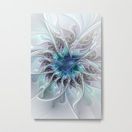 Flourish Abstract, Fantasy Flower Fractal Art Metal Print