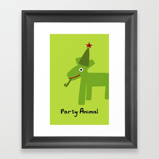 Party Animal-Green Framed Art Print