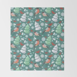 Winter birds blue pattern Throw Blanket
