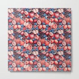 Watercolour Fruit - Cobalt/Carmine Metal Print