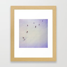 little skiers Framed Art Print
