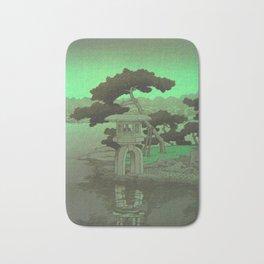 Kawase Hasui Vintage Japanese Woodblock Print Glowing Green Neon Sky Over A Zen Garden Shrine Bath Mat