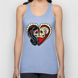Ashes - Day of the Dead Couple - Kissing Sugar Skull Lovers Unisex Tank Top