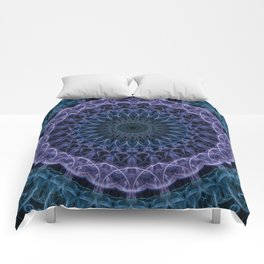 Detailed blue and violet mandala Comforters