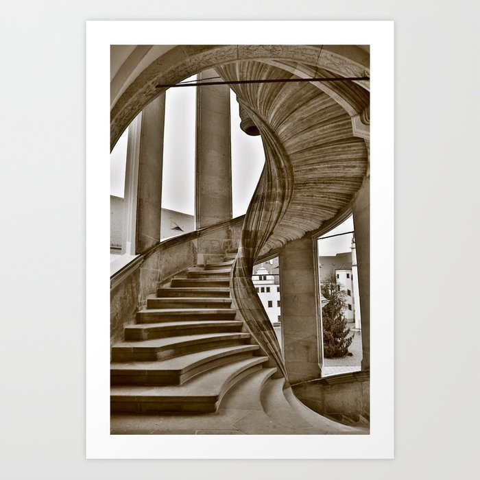 Sand stone spiral staircase 11 Art Print by falkofollert