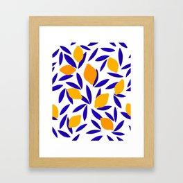 Blue and yellow Lemon Summery Pattern Framed Art Print