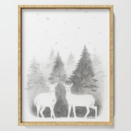 Albino Deer and Pine Forest with Stars Serving Tray