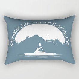 Asheville - Kayaking - AVL 9 White on Greyblue Rectangular Pillow