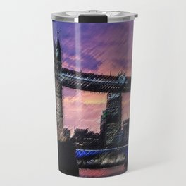 Tower Bridge, London at Sunset Landscape Painting by Jeanpaul Ferro Travel Mug