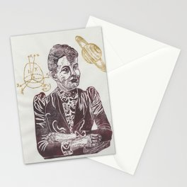 Mathematician Sofia Kovalevski Linocut with Kovalevski Top and Saturn Stationery Cards