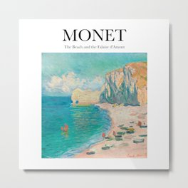 Monet - The Beach and the Falaise d'Amont Metal Print