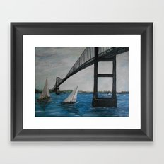 Newport Clairborne Pell Bridge Framed Art Print
