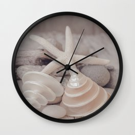 Beach Still Life With Shells And Starfish Wall Clock