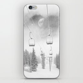 Chairlift Moon Break // Riding the Mountain at Copper Colorado Luna Sky Peeking Foggy Clouds iPhone Skin
