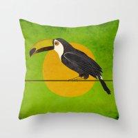 toucan Throw Pillows featuring toucan by John Beswick