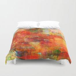 AUTUMN HARVEST - Fall Colorful Abstract Textural Painting Warm Red Orange Yellow Green Thanksgiving Duvet Cover