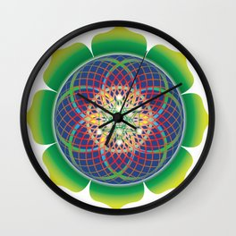 Metatrons cube flower of life mandala Wall Clock