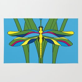 Turquoise Dragonfly Tulip Rug