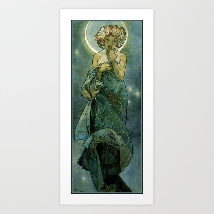 "Alphonse Mucha ""The Moon and the Stars Series: The Moon"" Kunstdrucke"