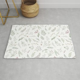 Ditsy Watercolor Flowers and Leaves Rug