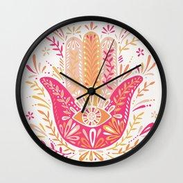 Hamsa Hand – Pink & Peach Palette Wall Clock