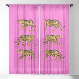 Tigers (Magenta and Marigold) Sheer Curtain