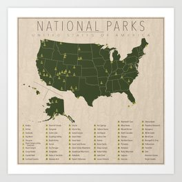 US National Parks w/ State Borders Art Print