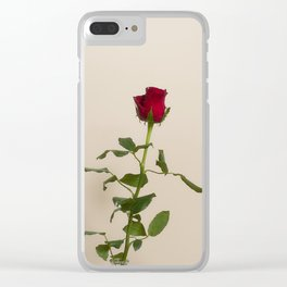 Single red rose Clear iPhone Case