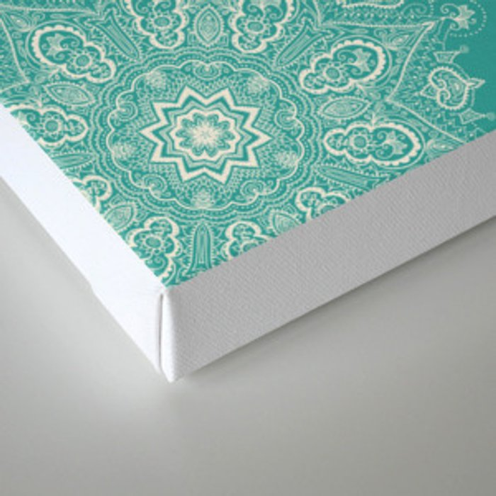 Teal and Lace Mandala Canvas Print