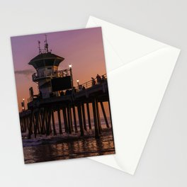 Image California USA Huntington Beach Pier Ocean Nature Bridges Waves Bay Evening Marinas Street lights bridge Berth Stationery Cards