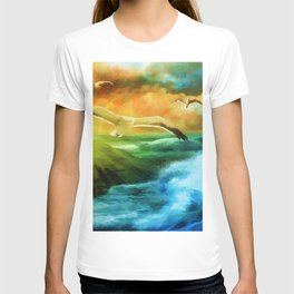 Seagull Flying Off The Coast (Color) T-shirt