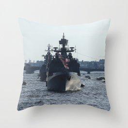 Russian Navy Battleships on Neva River. Throw Pillow